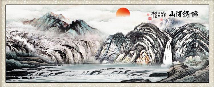 国画|水墨画|山水画|迎客松|客厅画-(ld4类)