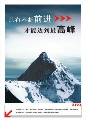G6-12:只有不断前进,才能到达最高峰。(山的山峰之一,是一个突出的山顶,或者是这个山脉的最高点。外形或多或少为圆锥形,也用来指孤立的山或者有一个尖锐的惹人注目的山顶的山,例如科罗拉多的派克斯峰。)